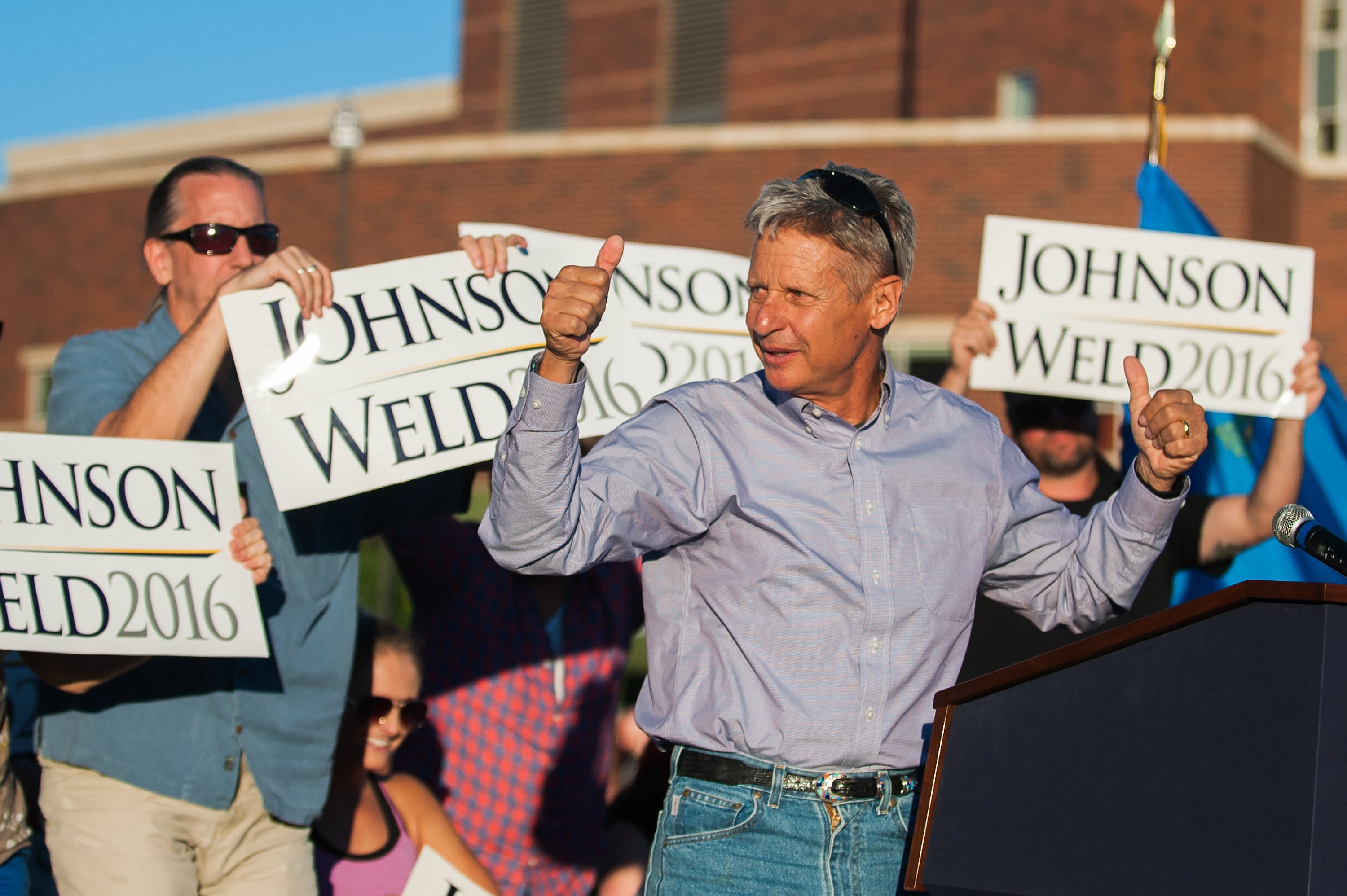 FILE--Gary Johnson, the Libertarian presidential candidate, speaks at a rally in Reno, Nev., Aug. 5, 2016. JohnsonÕs support in the polls is a little shy of 10 percent, suggesting heÕll get that chance. Yet the former Republican governor of New Mexico is hoping to have an impact, if only by hastening the fall of his old party and the rise of his new one as a national political force. (Kevin Clifford/The New York Times)