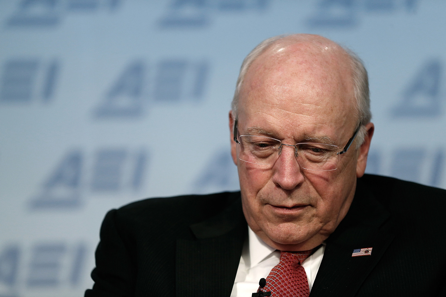 "WASHINGTON, DC - MAY 12:  Former U.S. Vice President Dick Cheney talks about his wife Lynne Cheney's book ""James Madison: A Life Reconsidered"" May 12, 2014 in Washington, DC. The Cheneys spoke at the American Enterprise Institute for Public Policy Research.  (Photo by Win McNamee/Getty Images)"
