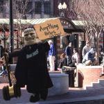 Brandeis Mascot Seen Panhandling in Harvard Square